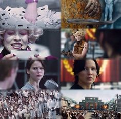 Hunger Games vs. Catching Fire. Notice how there's so much more color in Catching Fire but it's mostly tones of red and orange and yellow signifying the fire of the rebellion that wasn't there in the Hunger Games.