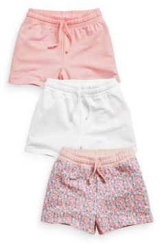 Buy Three Pack Ditsy Print, Pink And White Shorts from the Next UK online shop Cute Girl Outfits, Short Outfits, Classy Outfits, Short Dresses, Short Niña, Short Girls, Summer Shorts Outfits, Outfit Summer, Latest Fashion For Women