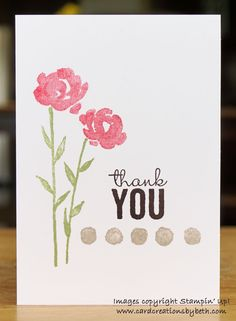 Pretty one layer thank you card with Painted Petals stamp set