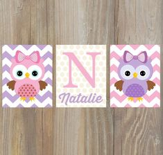 Owl nursery wall art. Custom baby name décor by KalasKorner, $27.00