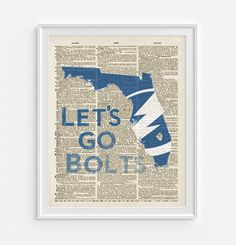 Tampa Bay Lightning hockey inspired Art Print on old Dictionary Pages, Unframed