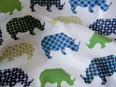 Rhinos - Urban Circus II Fabric - Fat Quarter. $8.50, via Etsy.