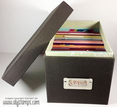 Use the Medium Die storage box to hold cards! Shown here with 36 cards (PDF files for all cards available). The insert is made in My Digital Studio.