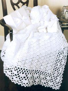 crochet baby blanket patterns | Pattern 001 - Crochet Pattern White Baby…