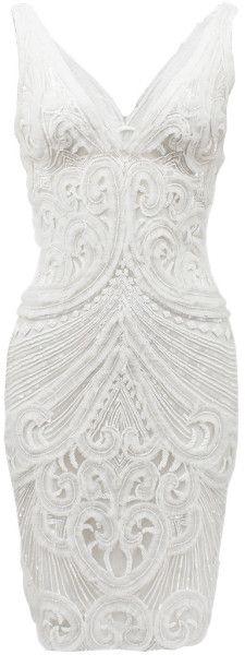 Naeem khan Sleeveless Vfront Caviar Bead Dress in White (IVORY)