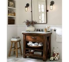 Bathroom Ideas | Pottery Barn Like the holiday bulbs in the glass jars, sink and mirror are not too bad either