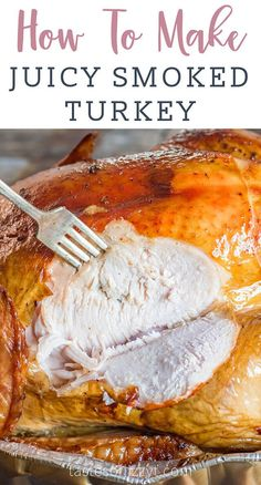 Ever wondered how to smoke a juicy turkey? This is the best smoked turkey recipe we've tried. Free up the oven and learn how to smoked turkey stuffed with fruit and aromatics for an amazing turkey dinner. You may also like our smoked turkey rub. Smoked Turkey Cooking Time, Smoked Turkey Brine, Smoked Whole Turkey, Turkey Cooking Times, Whole Turkey Recipes, Traeger Turkey, Turkey Rub, Butterball Turkey, Turkey Meals