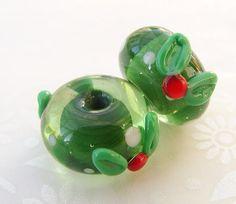 Lampwork Glass Beads Mini Christmas Holly Duo UK by shineon2, £4.50
