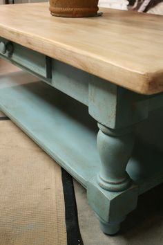 I white washed the top of the coffee table by diluting Old White Chalk Paint with water. I painted the thinned paint on and wiped it back. After I applied a coat of clear wax, I rubbed a heavy coat of dark wax over it and wiped it back with a cloth.