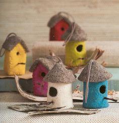the cutest little felt birdhouse ornaments