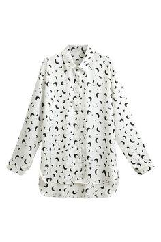 非対称スター & 月印刷白シャツ