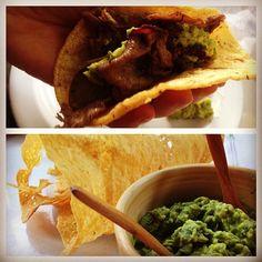DF: El Califa taqueria: ribeye carne asada taco, guacamole and chicharrón de queso