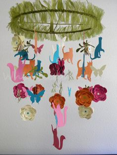Cats+at+Play+Paper+Decorative+Mobile+by+whimsicalaccents+on+Etsy,+$90.00