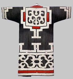 "Ainu clothes called ""rurunpe"" were elaborately embroidered with delicate applique. These traditional clothes can be seen only in a limited area, including Shiraoi."