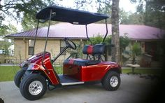 My 16 year old restored golf cart.  I added pinstriping recently and plan to turn it into a Woodie by adding strips of wood on the sides.