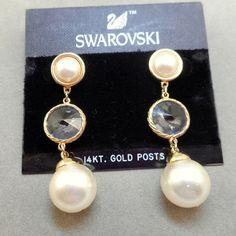 NOS Swarovski Earrings  MOC by AntiqueAli on Etsy