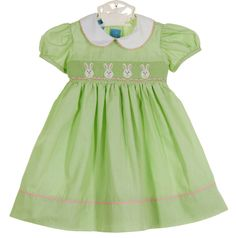 NEW Anavini Lime Green Smocked Dress with Bunny Embroidery $60.00