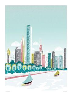 Chicago, Art Print, sailboats and skyline