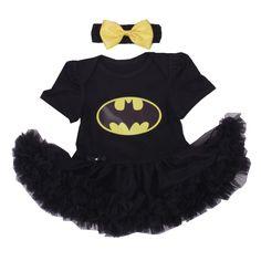 Batman bebe phục giáng sinh cho trẻ đen ren romper dress + headband 2 cái bé gái quần áo set toddler trẻ sơ sinh quần áo