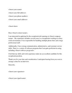 Examples Of Job Application Letters for Receptionist . New Examples Of Job Application Letters for Receptionist . Sample Resume Cover Letter for Customer Service Valid Resume Resume Cover Letter Template, Cover Letter Help, Writing A Cover Letter, Cover Letter For Resume, Letter Templates, Cover Letters, Resume Templates, Great Cover Letter Examples, Receipt Template