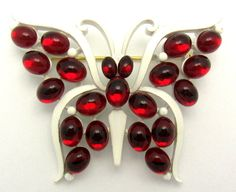Vintage CROWN TRIFARI Rare Butterfly Brooch Pin Beautiful Red Stones!