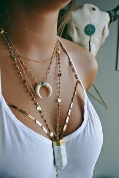 REINA DOUBLE HORN #liliclaspe #jewelry #layers #coachella