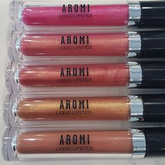 New Aromi Metallic Liquid Lipsticks and a new matte liquid lipstick!  The metallic liquid lipsticks have a shimmery, metallic finish - they are long-lasting and touch-proof!  Vegan and cruelty-free! http://www.aromibeauty.com/metallic-liquid-lipstick/