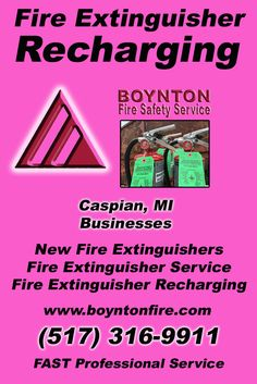 Fire Extinguisher Recharging Caspian, MI (517) 316-9911 Local Michigan Businesses Discover the Complete Fire Protection Source.  We're Boynton Fire Safety Service.. Call us today!
