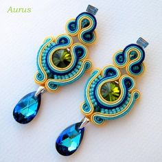 Hand embroidered earrings made in technique of needlework with silky cotton cords soutache & turquoise