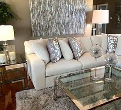 40 Luxurious Living Room Ideas and Designs — RenoGuide - Au.- 40 Luxurious Living Room Ideas and Designs — RenoGuide – Australian Renovation Ideas and Inspiration silver themed living room - Living Pequeños, Home And Living, Living Room Inspiration, Home Decor Inspiration, Decor Ideas, Living Room Interior, Living Room Decor, Silver Living Room, Decoration Chic