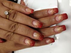 happy vietnamese/chinese new year! red and gold glitter faded acrylic nails. Gold Acrylic Nails, Gold Glitter Nails, Silver Nails, Gold Gradient, Red Glitter, Red Ombre Nails, Red And Gold Nails, Red Gold, Red Nail Designs
