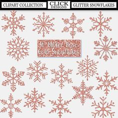 GLITTER ROSE GOLD Snowflakes Digital ClipArt: Sparkle frozen
