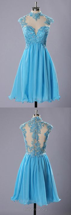 Popular Homecoming Dresses,High Neck Blue Party Gowns,Chiffon Tulle Appliques Lace Cocktail Dress, Short/Mini Prom Dresses