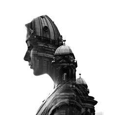 byn arquitectura edificio rostro fotomontaje Aneta Ivanova