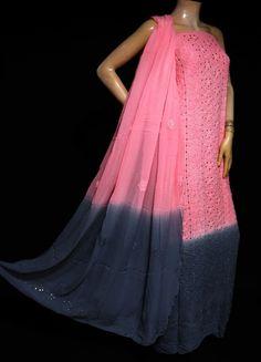 ISHIEQA's Pure Georgette Pink-Grey Mukaish Dress Material-MV1508D Pink Grey, Purple, Types Of Stitches, White C, Black B, Green Cotton, Orange, Yellow, Cotton Dresses