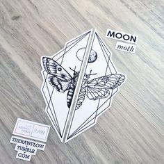 Moth moon dotwork matching tattoos for forearm or thigh - Skinque.com