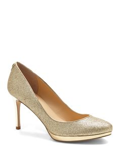 IVANKA TRUMP Gold Sophia Pumps - these are my favorite but I can't afford them in my size High Heel Pumps, Pump Shoes, Shoes Sandals, Gold Bridesmaid Shoes, Pump It Up, Gold Pumps, Ivanka Trump, Shoe Shop, Womens High Heels