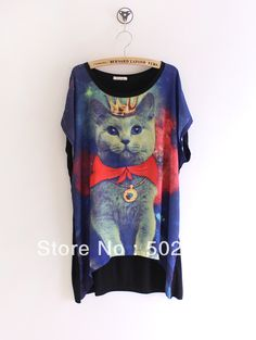 Aliexpress.com : Buy 2013  Hot Women Galaxy Cat King Space Graphic Print Loose T shirts Women Short Sleeve Blouse on SUNSKY INTERNATIONAL CO.,LTD. $10.25
