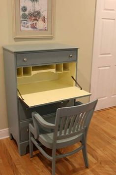 Krystal Estes Brobst finished this secretary and Gunlocke chair in Dixie Belle Paints. Vintage d Duck Egg and Lemonade. The picture makes the yellow look bright but it's really a nice subtle, soft yellow.