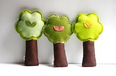 Felt tree rattles - I love the shape of the trees and the little detail in the middle