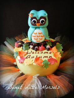 Owl/Autumn Themed Baby Shower Cake - by SweetLittleMorsels @ CakesDecor.com - cake decorating website