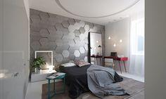 Minimalist bedroom design with soft color. It looks elegant.