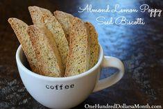 Almond Lemon Poppy Seed Biscotti #Cookies