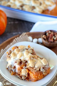 Sweet Potato Casserole with Marshmallows and Streusel - Mashed sweet potato casserole topped with toasted marshmallows and a brown sugar cinnamon pecan streusel. The perfect side dish for Thanksgiving or any other holiday celebration. Best Thanksgiving Side Dishes, Thanksgiving Dinner Recipes, Holiday Recipes, Holiday Dinner, Friendsgiving Ideas, Holiday Meals, Thanksgiving Turkey, Best Sweet Potato Casserole, Sweet Potato Recipes