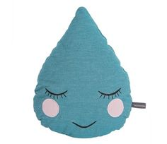 Roommate Petrol Drop Cushion - GOTS Organic Cotton Cushion This petrol blue organic cotton cushion in the shape of a raindrop is fast asleep with embroidered shut eyes, rosy cheeks and a little smile. This water droplet cushion is charming and will