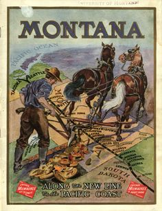 Vintage Montana Poster - Love anything MT! My home state! Vintage Travel Posters, Vintage Ads, Poster Vintage, Big Sky Montana, Milwaukee Road, American Quilt, Big Sky Country, Wisconsin, Michigan