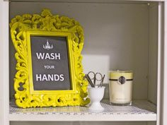 Crafty Bathroom Artwork http://www.hgtv.com/bathrooms/bathroom-design-make-the-most-of-what-you-have/pictures/page-5.html?soc=pinterest