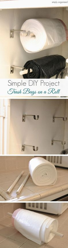 Garage Storage Ideas Diy & Garage Organization DIY Wall-Mounted Trash Bag Rollers - Second Crafting Garage Organization, Garage Storage, Kitchen Storage, Organization Ideas, Organizing Tips, Kitchen Pantry, Dollar Store Organization, Camper Storage, Pantry Storage