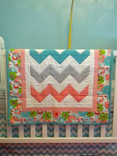 Modern Chevron Baby Girl Quilt Blanket Coral Turquoise Gray via Etsy