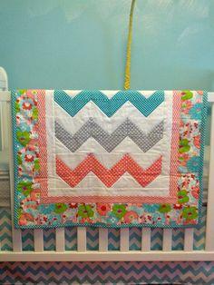 Modern Chevron Baby Girl Quilt Blanket Coral Turquoise Gray via Etsy